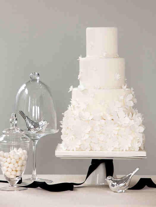 White Wedding Cake  # white wedding ... Wedding ideas for brides, grooms, parents & planners ... https://itunes.apple.com/us/app/the-gold-wedding-planner/id498112599?ls=1=8 … plus how to organise an entire wedding ♥ The Gold Wedding Planner iPhone App ♥