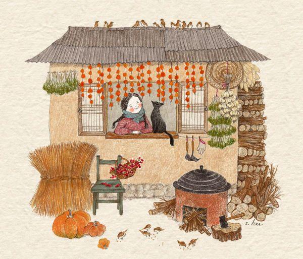 처마밑에.. 겨우내 먹을양식들이 주렁주렁... 집 벽을 따라.. 차곡차곡 예쁘게도 쌓여있는 장작더미... 부지런한 마음과 알뜰한 손으로 겨울을 준비하는 시골집의 풍경에 세상에서 제일 큰 부자가 된 것 같습니다.....
