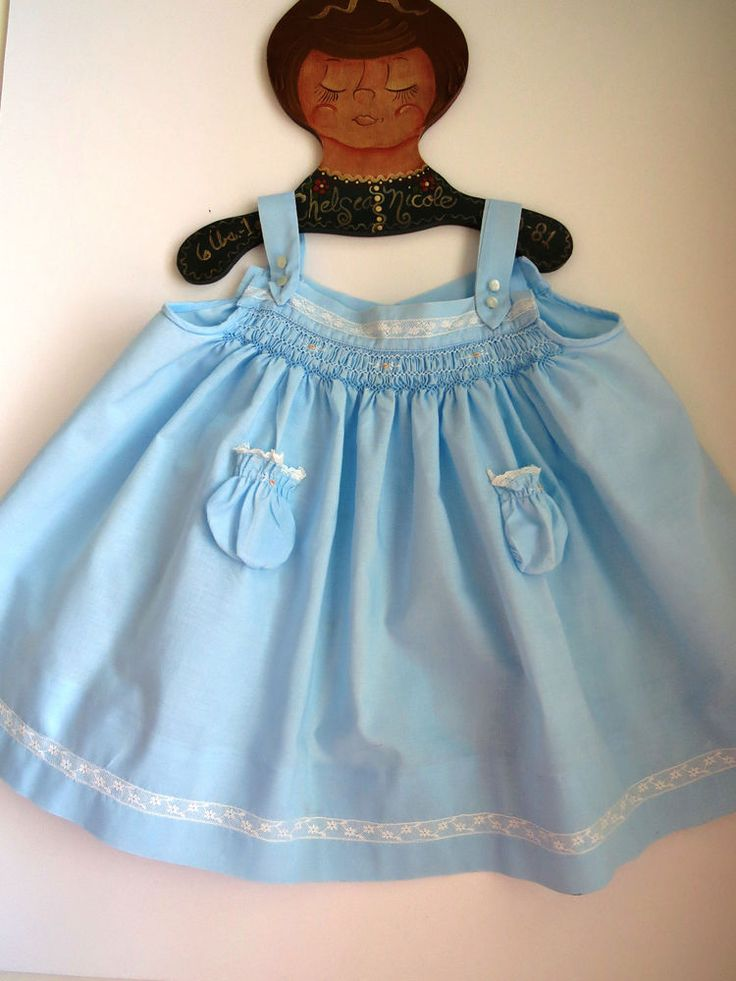 Vintage Baby Girls Sundress by Baby Togs Size Small Robin Egg Blue Smocked Top #BabyTogs