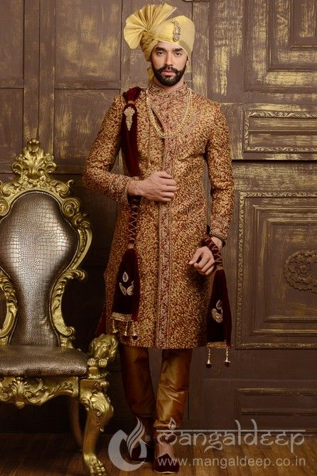 Maroon Jacquard Silk Wedding Wear Heavy Embroidery Work Sherwani. For more information :- Call us @+919377222211 (Whatsapp Available)
