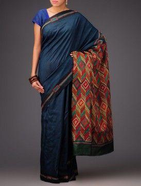 Royal Blue Tussar Silk Kantha Embroidered Saree