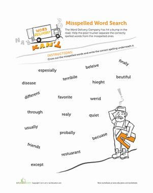 Third Grade Spelling Worksheets: Tricky Words to Spell - Find the misspelled word