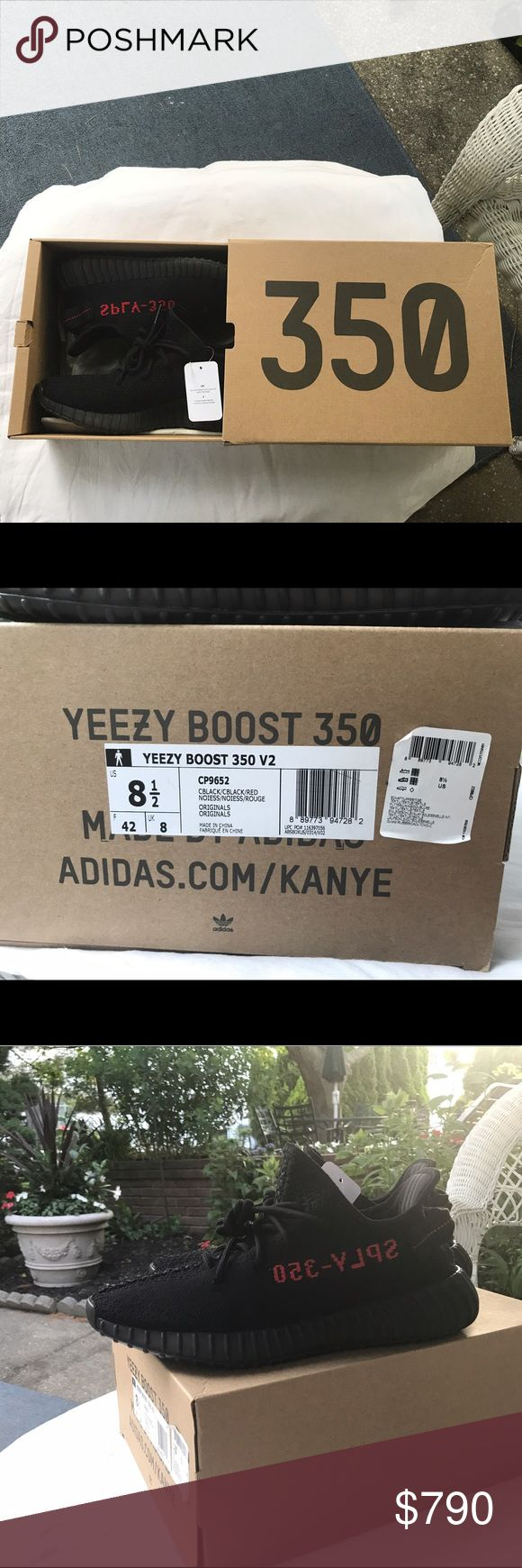 "Yeezy 350 V2 ""Bred"" worn 3-4 times size 8.5 Yeezys that I wore a few times and still have the original boxing, tags, and email receipt for (receipt is in the last picture). The only signs of wear are on the boost window on the bottom (see pictures). These have gone up in value recently but I'm definitely willing to negotiate! Yeezy Shoes Sneakers"