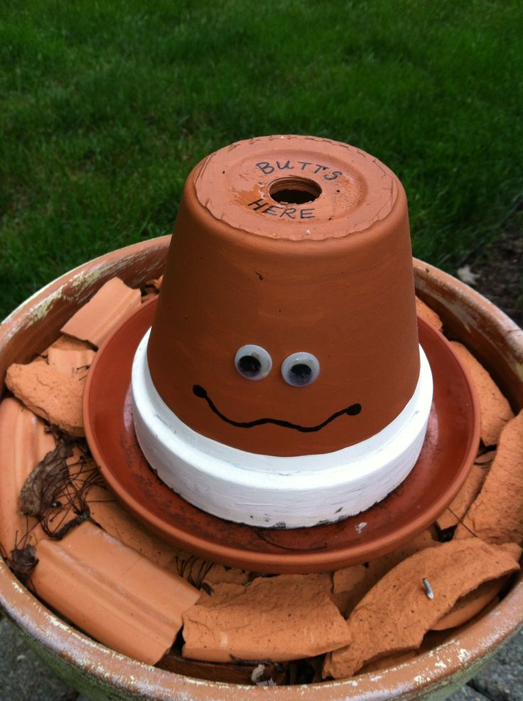 Butt Head...outdoor Ashtray From Clay Pots. Painted U0026 Sprayed With