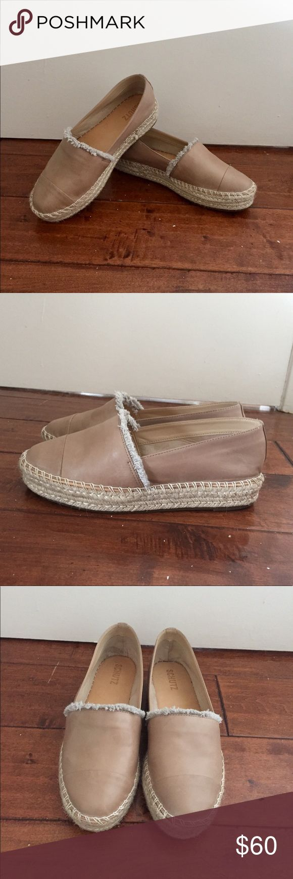 Schutz Espadrilles Chic Nude Espadrilles! Brand new and never worn! High quality and comfort! A necessity for every woman's shoe collection! Excellent for every day looks or for days out! Note that there is a tiny stain only noticeable up close on the right shoe that I saw after purchasing these, as shown in the second to last photo. Comes with cute dust bag. SCHUTZ Shoes Espadrilles
