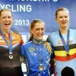 Laura Trott (Great Britain), Kirsten Wild (the Netherlands) , Jolien D'Hoore (Belgium) European Track Championships  2013 - Womens Omnium