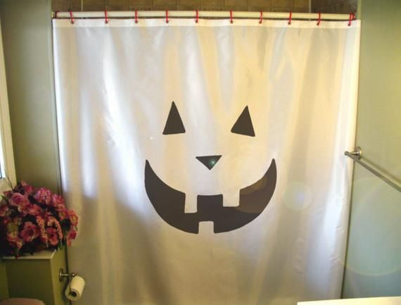 Pumpkin Grin Shower Curtain Halloween Scare Scream Carve Face Fun