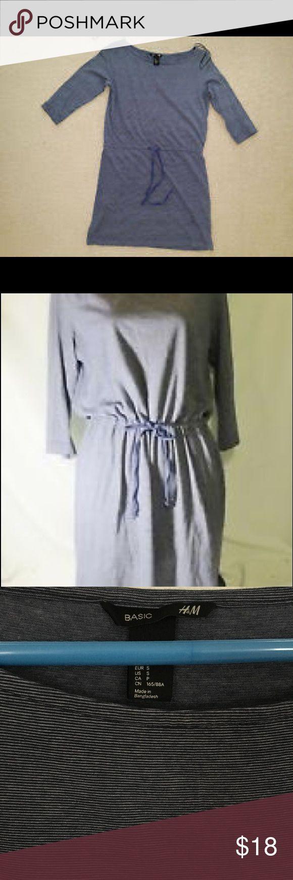 Blue & white striped mini dress with drawstring Soft cotton mini dress has 3/4 sleeves & a drawstring tie rope belt. Soooo cute! Great for spring/summer/fall. Navy blue & white stripe. H&M Dresses Mini