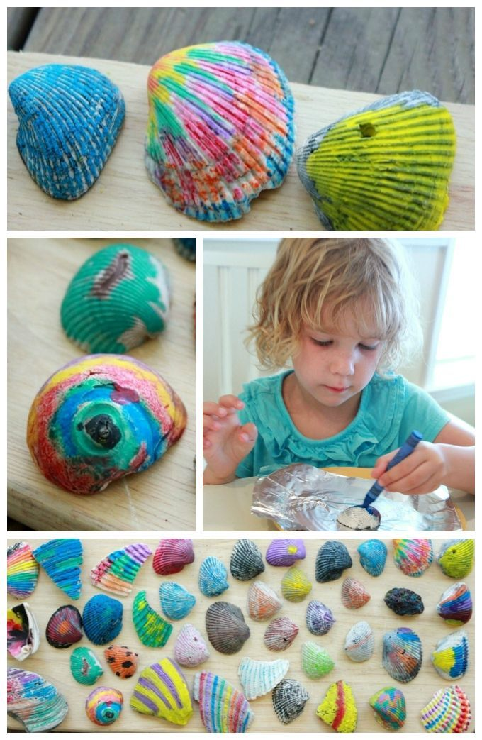 How to Make Melted Crayon Sea Shells! Plus other beach and ocean crafts for kids.