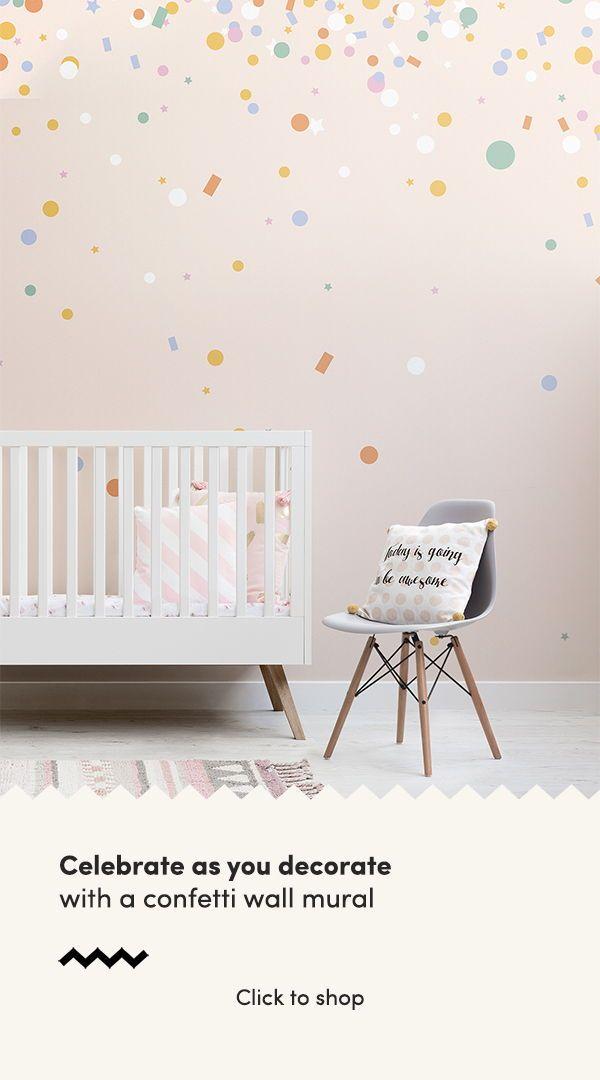 Rainbow Confetti Wallpaper Sprinkle Design Muralswallpaper Baby Girl Nursery Room Girl Nursery Room Nursery Room Decor