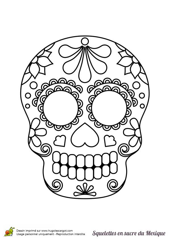 Una Calavera De Azucar Mexicana Con Petalos De Flores Para Colorear Skull Coloring Pages Easy Halloween Crafts Halloween Crafts For Kids