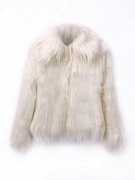 Cream Vintage Style Faux Fur Coat