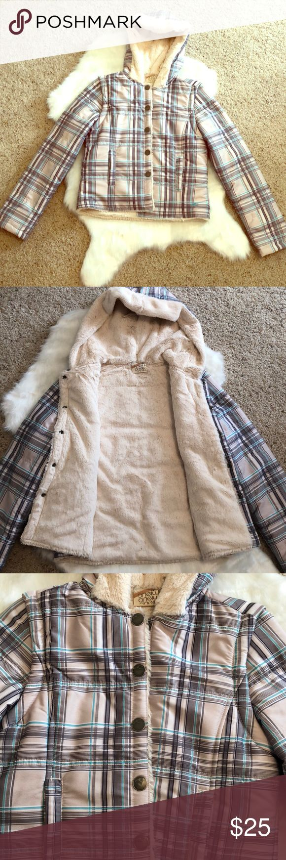O'Neill plaid jacket/vest combo Like new! Brown, ran, and blue plaid, soft and cozy fur lined interior and hood lining! Snap button closure. The sleeves zip off to turn the jacket into a vest!  100% polyester O'Neill Jackets & Coats