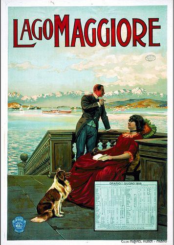Coppia elegante con quadrupede sul Lago Maggiore. Orario 1° giugno 1906, colori Michael Huber, Milano, Archivi Federali Svizzeri, Swiss Poster Collection | Flickr - Photo Sharing!