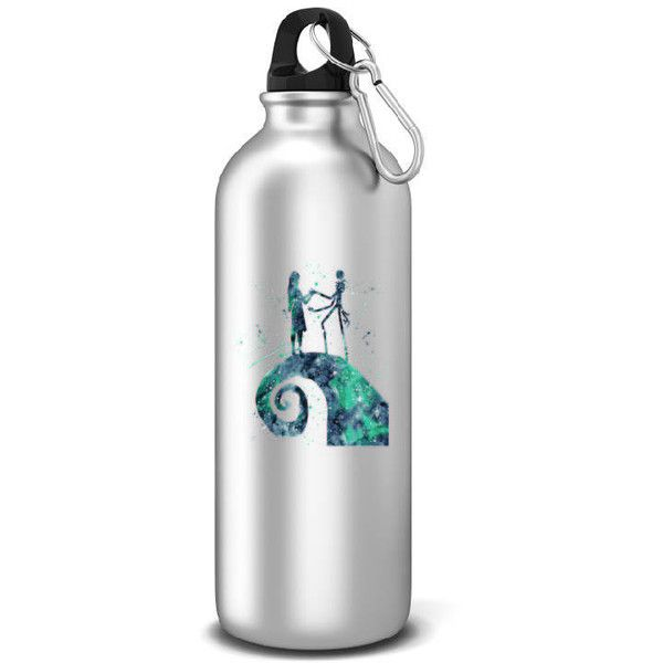 Nightmare Before Christmas Sports Water Bottle Jack Skellington... ($15) ❤ liked on Polyvore featuring home, kitchen & dining, drink & barware, drinkware, home & living, silver and water bottles & vacuum flasks