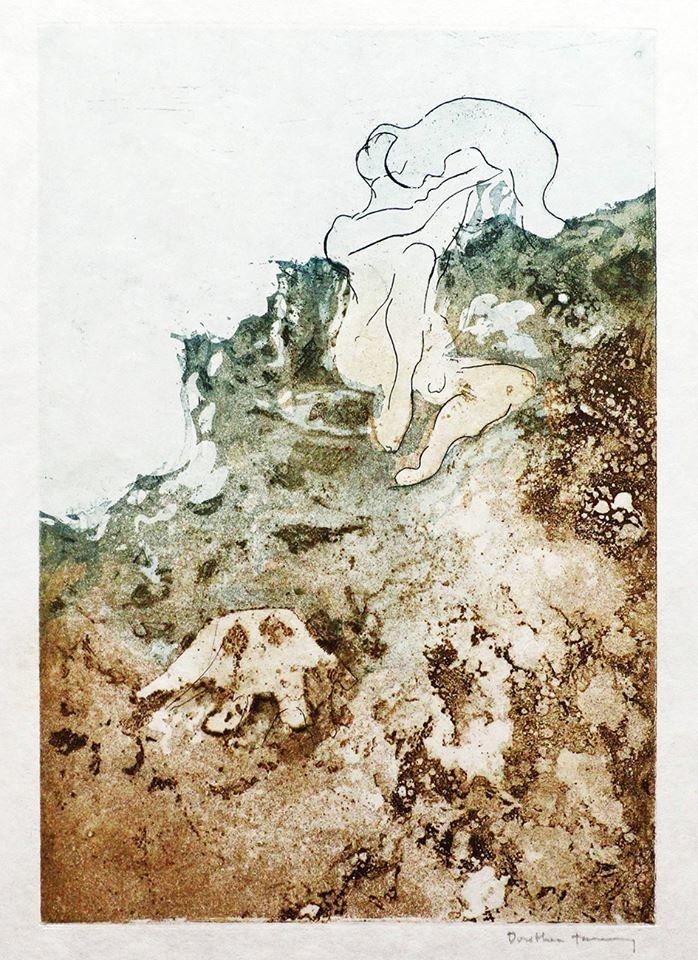 De nuestra artista de la semana en la exposición El Ojo Surrealista: DOROTHEA TANNING Estampa de la edición La Marée (La marea) Ediciones Georges Visat, París, 1970, ejemplar 9/75, 8 estampas,  texto de André Pieyre de Mandiargues. Aguatinta y aguafuerte
