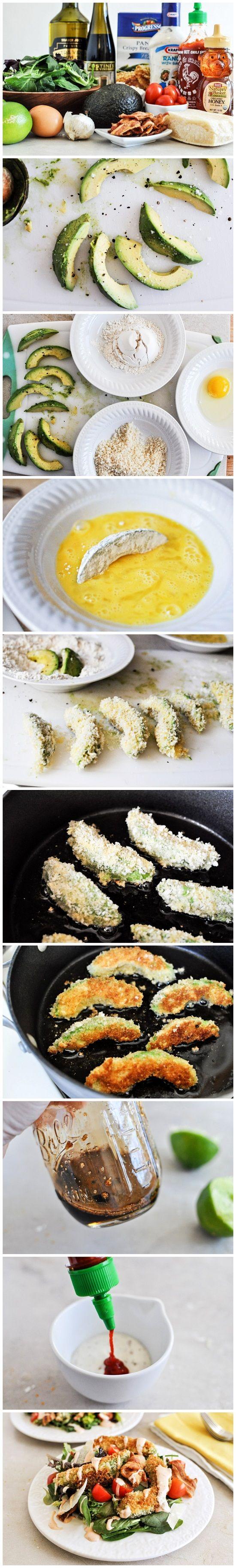 Crispy Avocado, Bacon and Tomato Salad