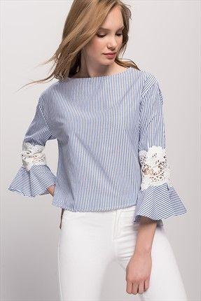 Kadın Mavi Kolu Dantelli Çizgili Bluz