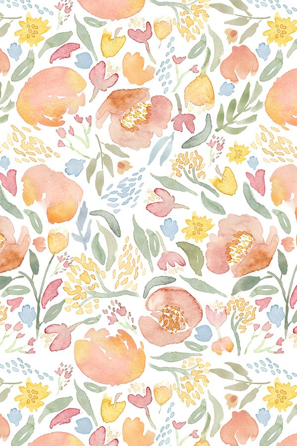 Colorful Fabrics Digitally Printed By Spoonflower Pastel Flower Peony Fusion Watercolor Pastel Floral Pastel Flowers Yellow Aesthetic Pastel