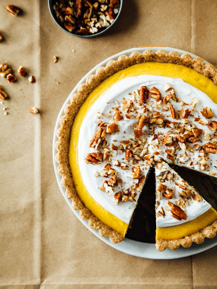 Ginger + pumpkin tart with maple-pecan crust