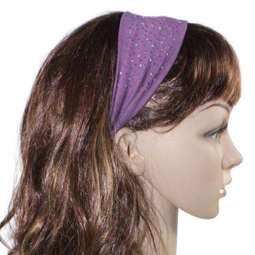 Simple Sparkling Rhinestone Stretch Cotton Headband - Purple Dahlia. $3.95