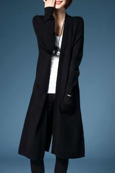Bstn Black Overlength Collarless Cardigan | Cardigans at DEZZAL Click on picture to purchase!