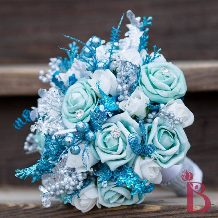 turquoise aqua snowflake winter wonderland theme bouquet