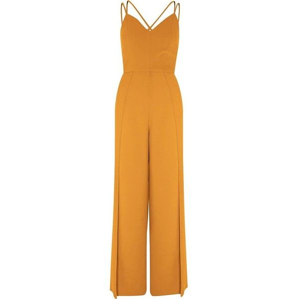 River Island Mustard yellow wide split leg cami jumpsuit (€105) ❤ liked on Polyvore featuring jumpsuits, dresses, rompers / jumpsuits, women, yellow, tall jumpsuit, yellow romper, mustard yellow jumpsuit, mustard romper and tall romper
