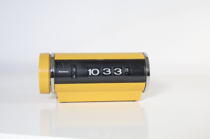 Vintage 1970s Mustard Yellow SANKYO Rotary Roll Flip Alarm Clock