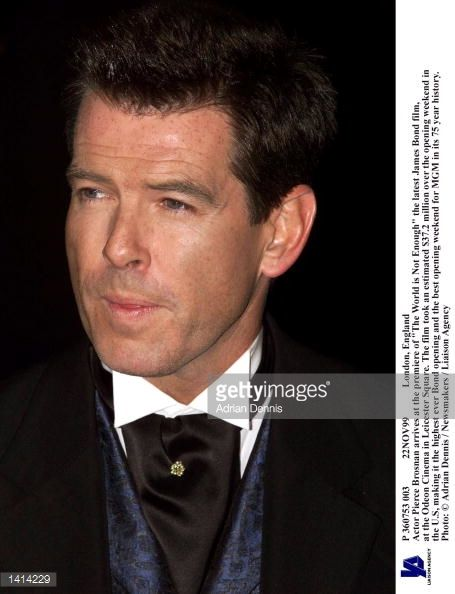 London England Actor Pierce Brosnan arrives at the premiere of 'The World is Not Enough' the latest James Bond film at the Odeon Cinema in Leicester...