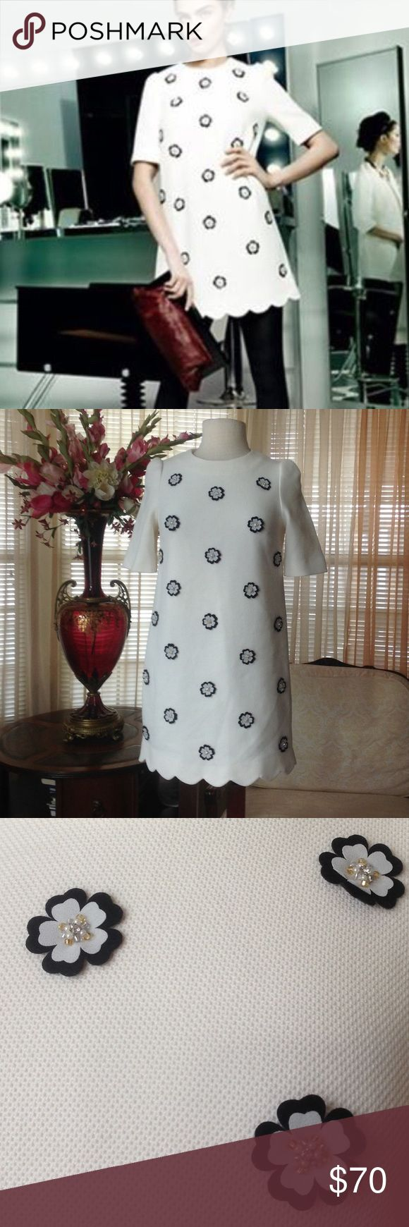 "Ochirly floral dress Never worn. It is 32"" long. It also lined. Color is light cream.                  .                           d ochirly Dresses Mini"