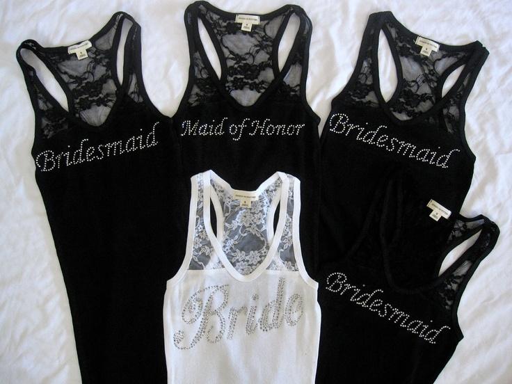 5 Bridesmaid Tank Top Shirt. Half Lace.  Bride, Maid of Honor, Matron of Honor. Black, White, Purple, Pink, Red, Tiffany Blue, Gray, Yellow. $89.75, via Etsy.