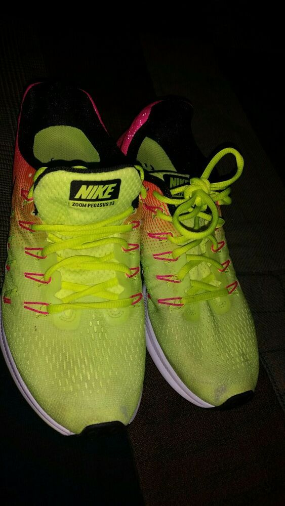 5cd9f9a0a18 Nike Air Zoom Pegasus 33 Womens Running Shoes Yellow Pink Size 9.5 - Nike  Airs (