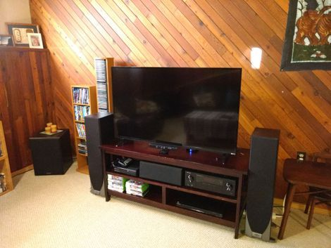 Cal's home theater: Big speakers, small budget, '70s woodgrain - CNET