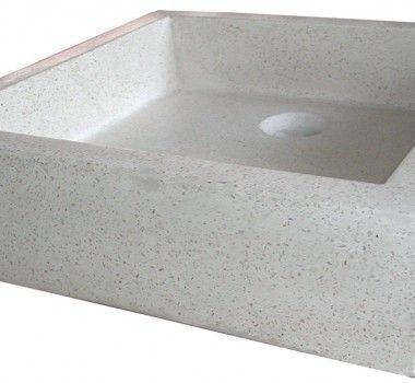 vasque terrazzo carrée beige 40x40x10