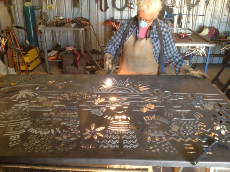 Plasma Cutting A 2m X 1m Corten Steel Panel For A School