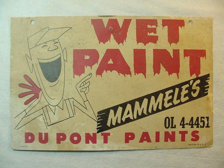 Vintage Mammele's Dupont Paints Wet Paint Paper Sign with Guy Laughing Pictured | eBay