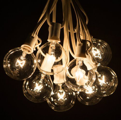 THE ONES    100 Foot Globe Patio String Lights - Set of 100 G50 Clear Bulbs with White Cord Hometown Evolution, Inc. http://www.amazon.com/dp/B007FKFWO2/ref=cm_sw_r_pi_dp_sjRPub0PG5Y67