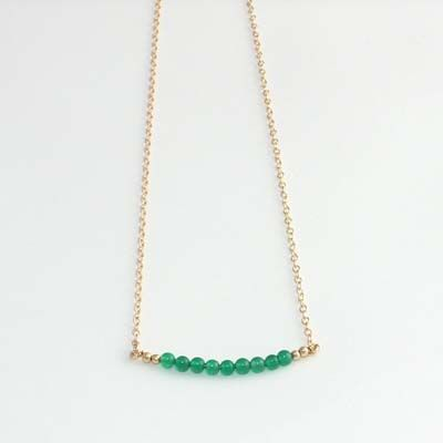 A Box for my Treasure - Gemstone Skinny Bead Bar Necklace