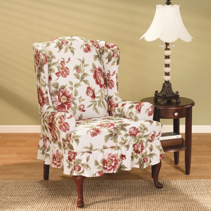 Sure Fit Stretch Olivia Wing Chair Slipcover In Floral (T Cushion)    188426256Kj