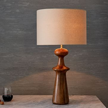 Turned wood table lamp tall