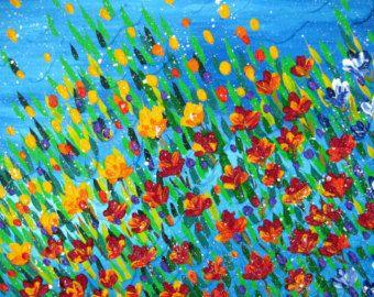 """pintura texturizada, pintura de amapolas, flores con textura, arte de la espátula, pintura con textura, pintura con mucha textura, 36 """"x 24"""""""