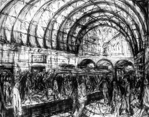 Jeanette Barnes, Canary Wharf station. Compressed charcoal drawing.