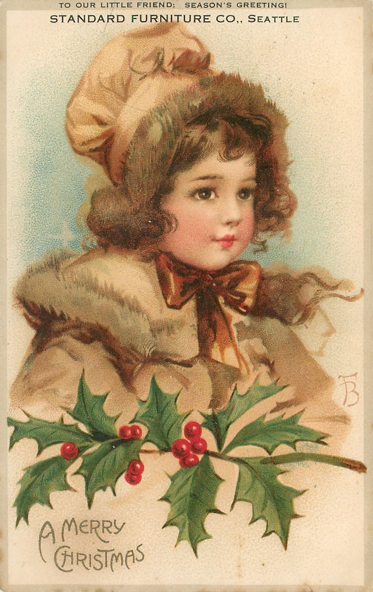 A MERRY CHRISTMAS  head and shoulders of girl in brown, bow at neck, holly branch below