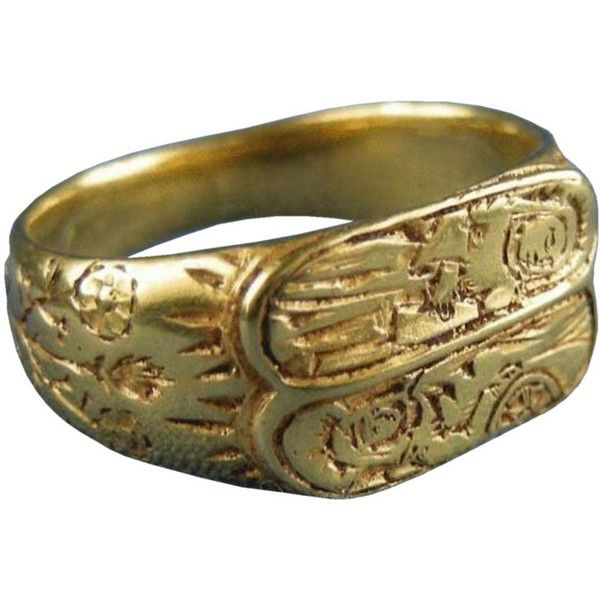 Gold Iconographic Ring, England, 1470 ca. - Bernardo Antichita' ❤ liked on Polyvore featuring jewelry, rings, medieval, bernardo jewelry, gold ring, yellow gold rings, gold jewellery and yellow gold jewelry