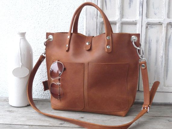 Ledertasche kleiner Ledershopper Handtasche von SanumiLeatherGoods