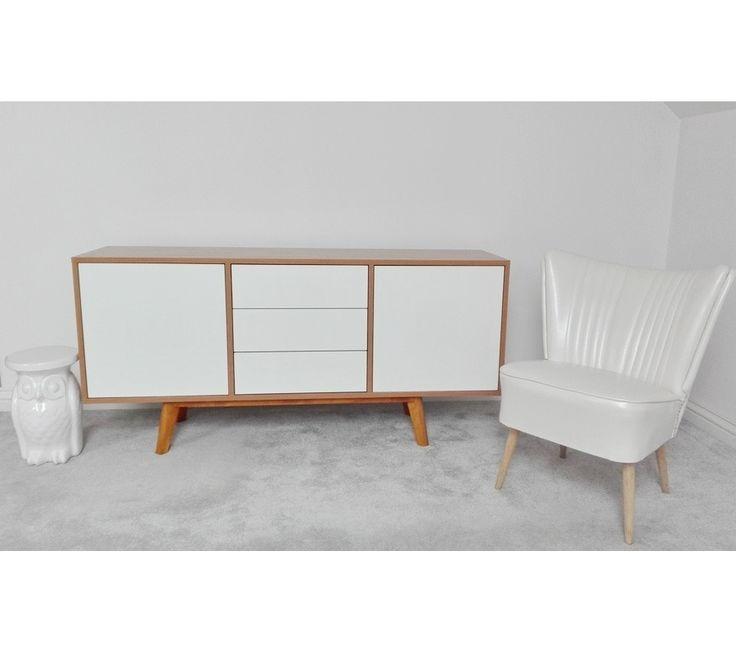 Skandynawska nowoczesna komoda S5-2 biel+drewno