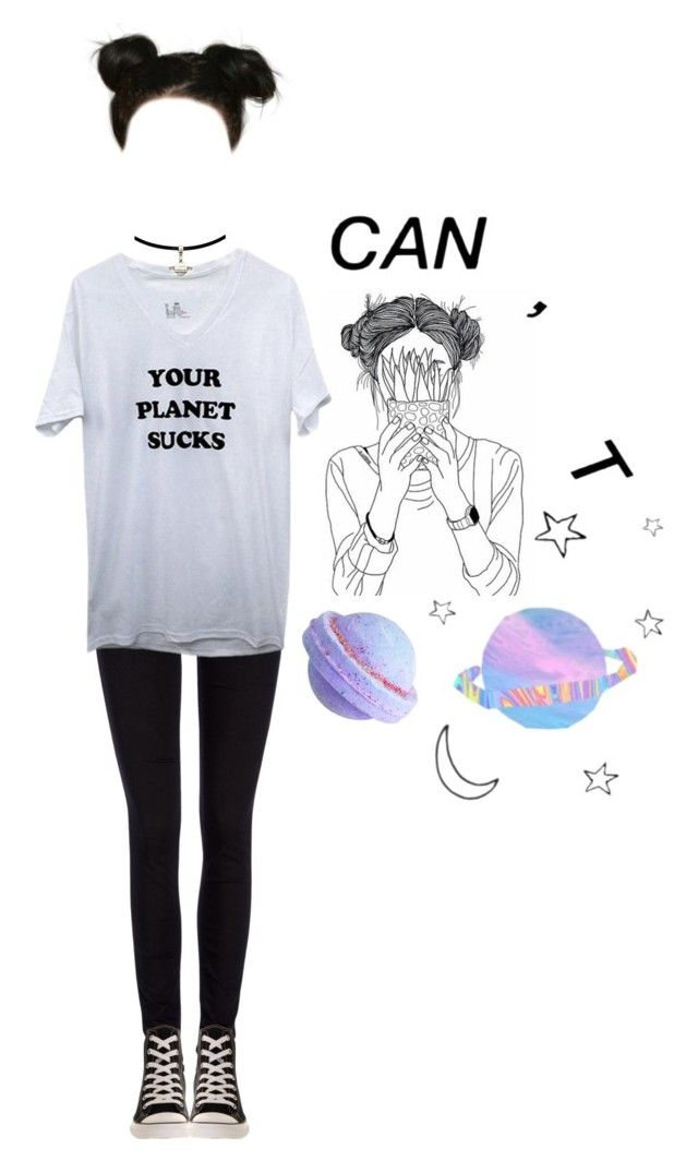 """""""space buns // what are we"""" by writing-outfits ❤ liked on Polyvore featuring Lee and Converse"""