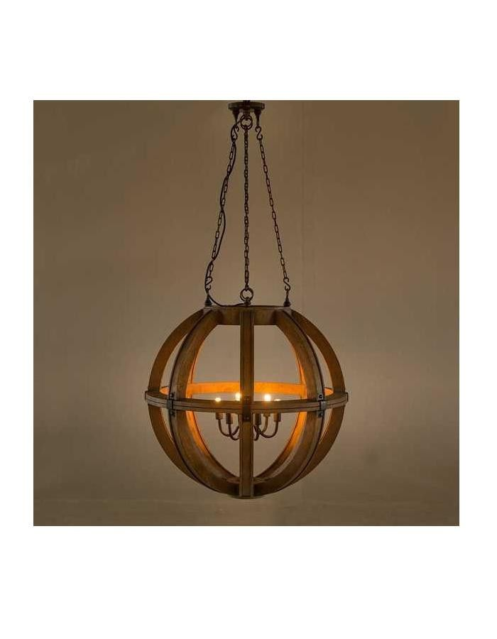 Cambure Wooden Globe Chandelier - Six Light – Chic Chandeliers