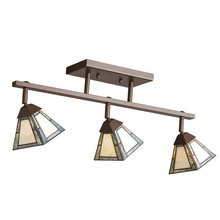 View the Kichler 69091 Craftsman %2F Mission Three Light Adjustable Semi Flush Rail Ceiling Fixture from the Francia Collection at LightingDirect.com.